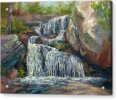 Plein Air - Waterfall Acrylic Print by Lucie Bilodeau