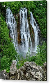 Plitvice Lakes Waterfall - A Balkan Wonder In Croatia Acrylic Print