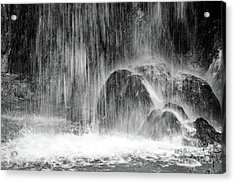 Plitvice Waterfall Black And White Closeup - Plitivice Lakes National Park, Croatia Acrylic Print