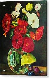 Plum Ranunculus Acrylic Print by Dana Redfern