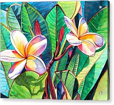 Acrylic Print featuring the painting Plumeria Garden by Marionette Taboniar