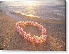 Plumeria Lei Shoreline Acrylic Print
