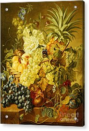 Plums, A Peach, Grapes, A Melon, A Pineapple, A Fig, Currants, Cherries And Flowers Acrylic Print