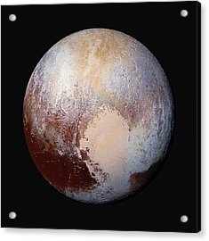 Pluto Dazzles In False Color - Square Crop Acrylic Print