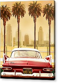 Plymouth Savoy With Palm Trees Acrylic Print by Larry Butterworth