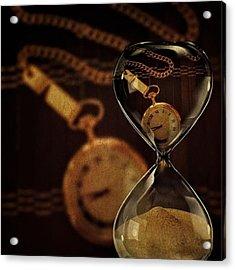 Pocket Watch And Sandglass Acrylic Print