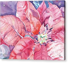 Acrylic Print featuring the painting Poinsettia Glory by Mary Haley-Rocks