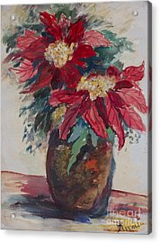 Poinsettias In A Brown Vase Acrylic Print by Avonelle Kelsey