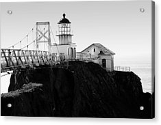 Point Bonita Lighthouse In The Marin Headlands . Black And White Acrylic Print by Wingsdomain Art and Photography
