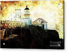 Point Bonitas Lighthouse . Texture Acrylic Print by Wingsdomain Art and Photography