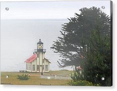 Point Cabrillo Light Station Ca - Lighthouse In Damp Costal Fog Acrylic Print