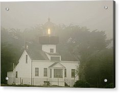 Point Pinos Lighthouse In A Foggy Night - Pacific Grove Monterey Central Ca Acrylic Print by Christine Till