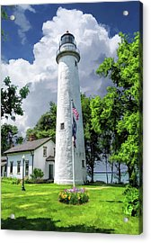 Acrylic Print featuring the painting Pointe Aux Barques Lighthouse by Christopher Arndt