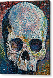 Pointillism Skull Acrylic Print by Michael Creese