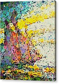 Pointillist Schooner Acrylic Print by John Malone