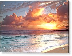 Poipu Beach Sunset Acrylic Print by Roger Mullenhour