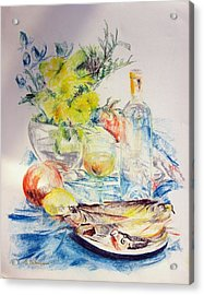 Poissons Acrylic Print by Muriel Dolemieux
