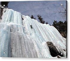 Pok-o-moonshine Ice Clmbing In The Adirondacks Acrylic Print by Brendan Reals