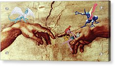 Acrylic Print featuring the digital art Pokeangelo Sistine Chapel by Greg Sharpe