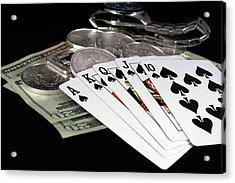Poker - The Winning Hand Acrylic Print by Lynnette Johns
