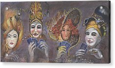 Acrylic Print featuring the painting Poker Game Faces by Nik Helbig