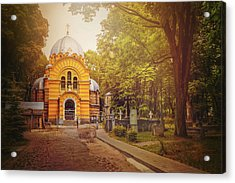Pokrov Cemetery And Orthodox Church Riga Latvia  Acrylic Print