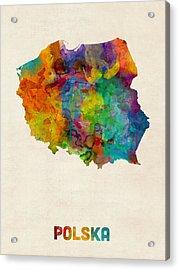 Poland Watercolor Map Acrylic Print