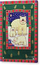 Polar Bear And Cubs Acrylic Print by Cathy Baxter