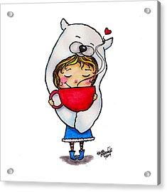 Polar Bear Girl With Hot Cocoa Acrylic Print