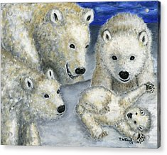 Polar Bears At Play In The Arctic Acrylic Print by Tanna Lee M Wells