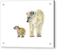 Polar Bears Watercolor Art Print Painting  Acrylic Print
