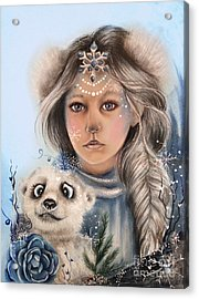 Acrylic Print featuring the drawing Polar Precious  by Sheena Pike