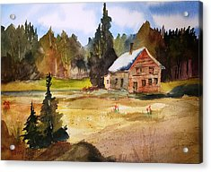 Polebridge Mt Cabin Acrylic Print by Larry Hamilton