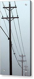 Poles In Fog - View On Left Acrylic Print