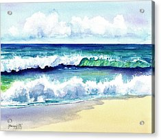 Acrylic Print featuring the painting Polhale Waves 3 by Marionette Taboniar