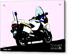 Police Motorcycle In Seoul By Taikan Acrylic Print