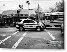 police police ford interceptor suv patrol vehicle on call Boston USA Acrylic Print