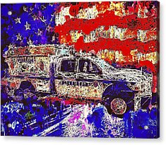 Acrylic Print featuring the mixed media Police Truck by Al Matra