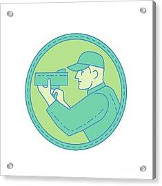 Policeman Speed Radar Gun Circle Mono Line Acrylic Print by Aloysius Patrimonio