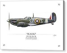 Polish Spitfire Mk V - White Background Acrylic Print