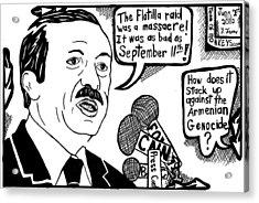 Political Cartoon On Erdogan Acrylic Print by Yonatan Frimer Maze Artist