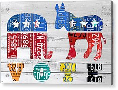 Political Party Election Vote Republican Vs Democrat Recycled Vintage Patriotic License Plate Art Acrylic Print by Design Turnpike