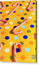 Polka-dot Christmas Canes Acrylic Print