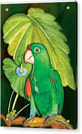 Acrylic Print featuring the painting Polly Wants A Flower by Anne Beverley-Stamps