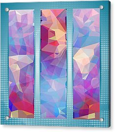 Polygon Abstract In 3 Frames Acrylic Print