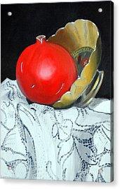 Pomegranate And Pot Acrylic Print by Kostas Koutsoukanidis
