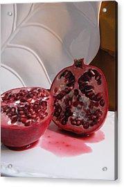 Pomegranate Slice Acrylic Print by Lindie Racz