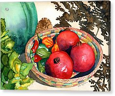 Pomegranates And Basket Acrylic Print by Eunice Olson