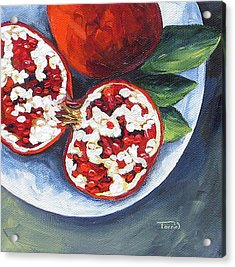 Pomegranates On A Plate  Acrylic Print by Torrie Smiley