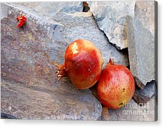 Acrylic Print featuring the photograph Pomegranates On Stone by Cindy Garber Iverson